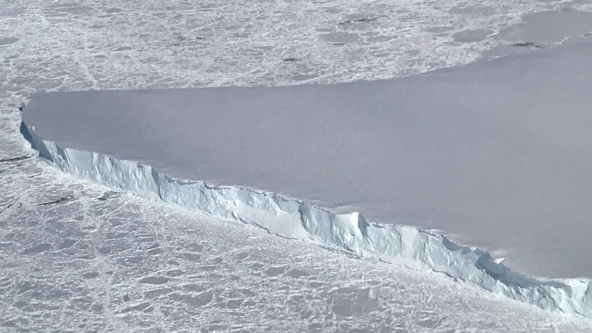 An inlet filled with sea ice around Venable Ice Shelf.