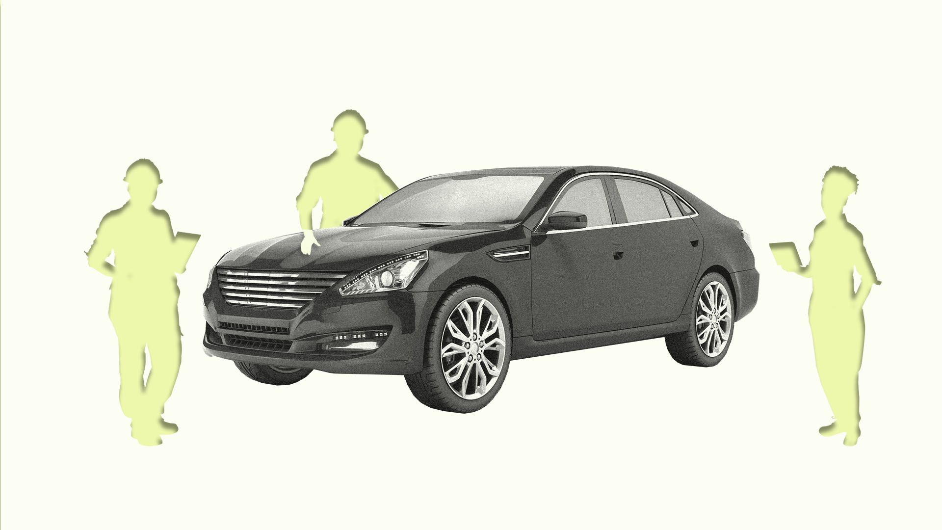 Illustration of experts missing around car
