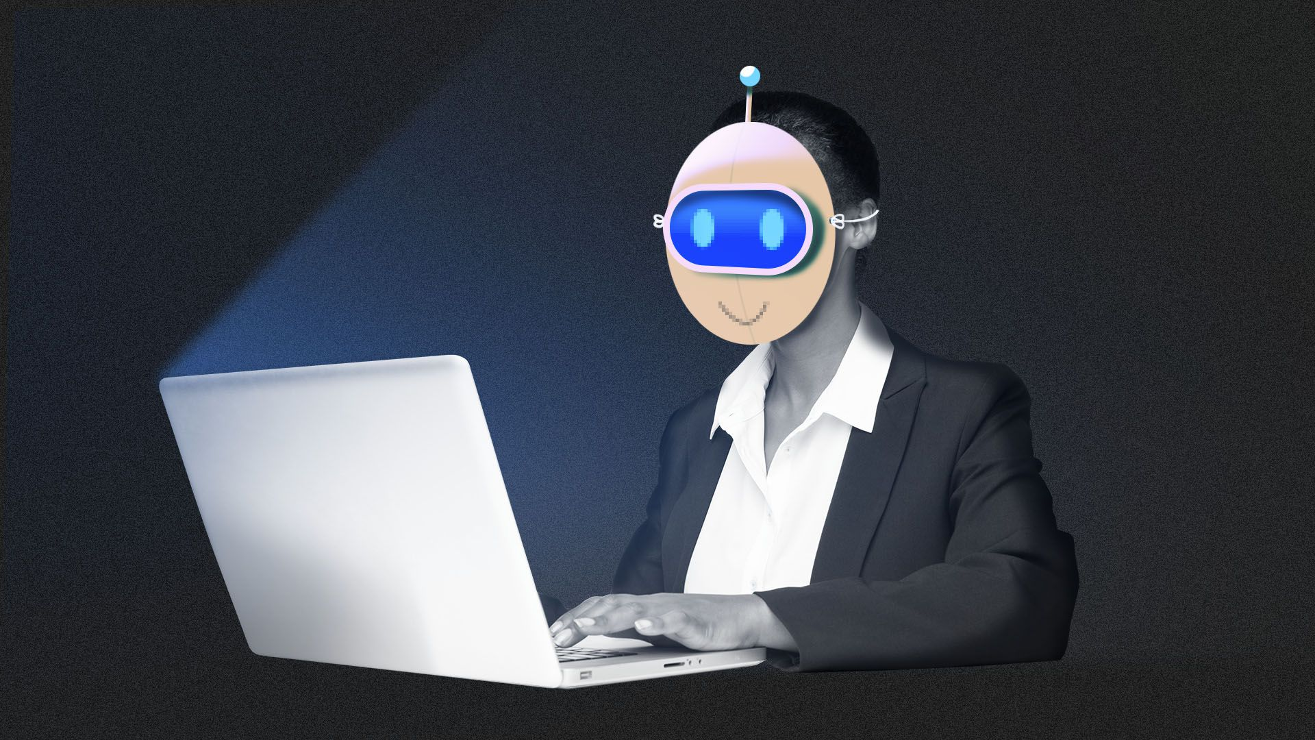 Illustration of a woman working at a computer wearing a robot mask