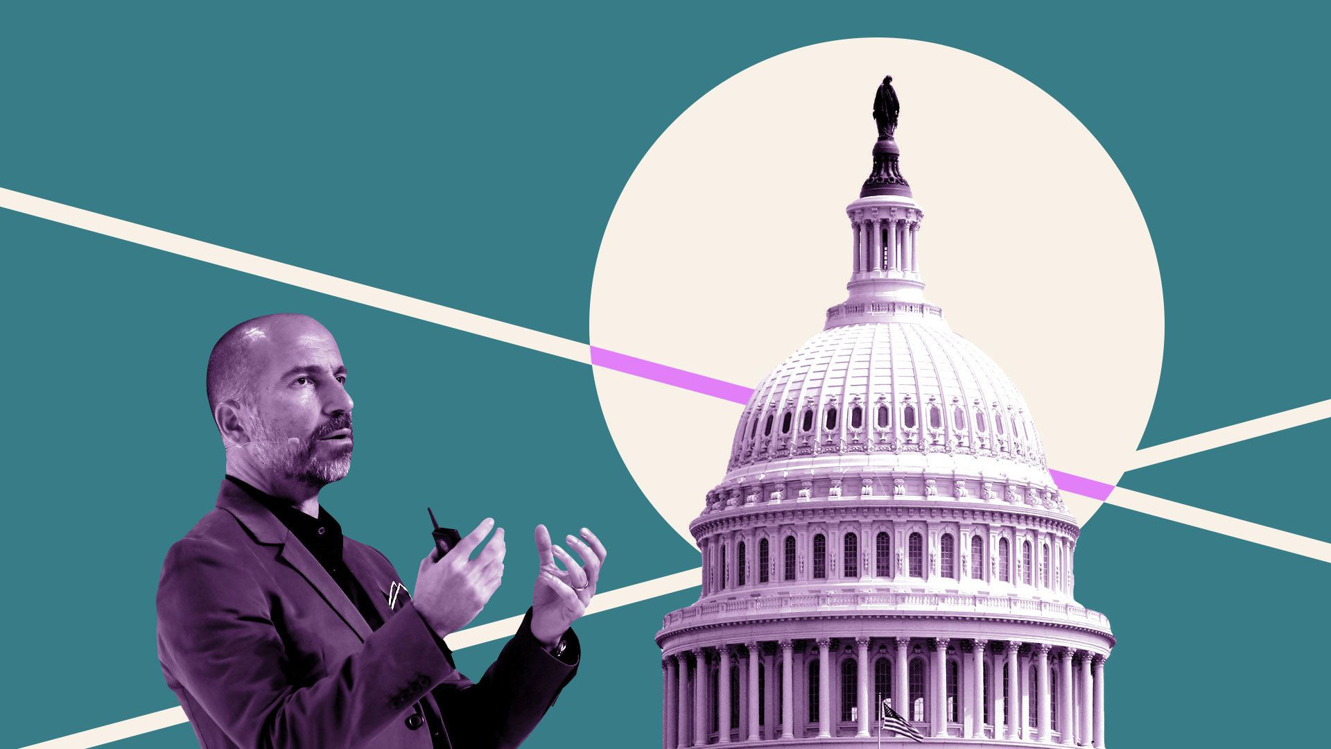 Photo illustration of Uber CEO Dara Khosrowshahi and the Capitol building.