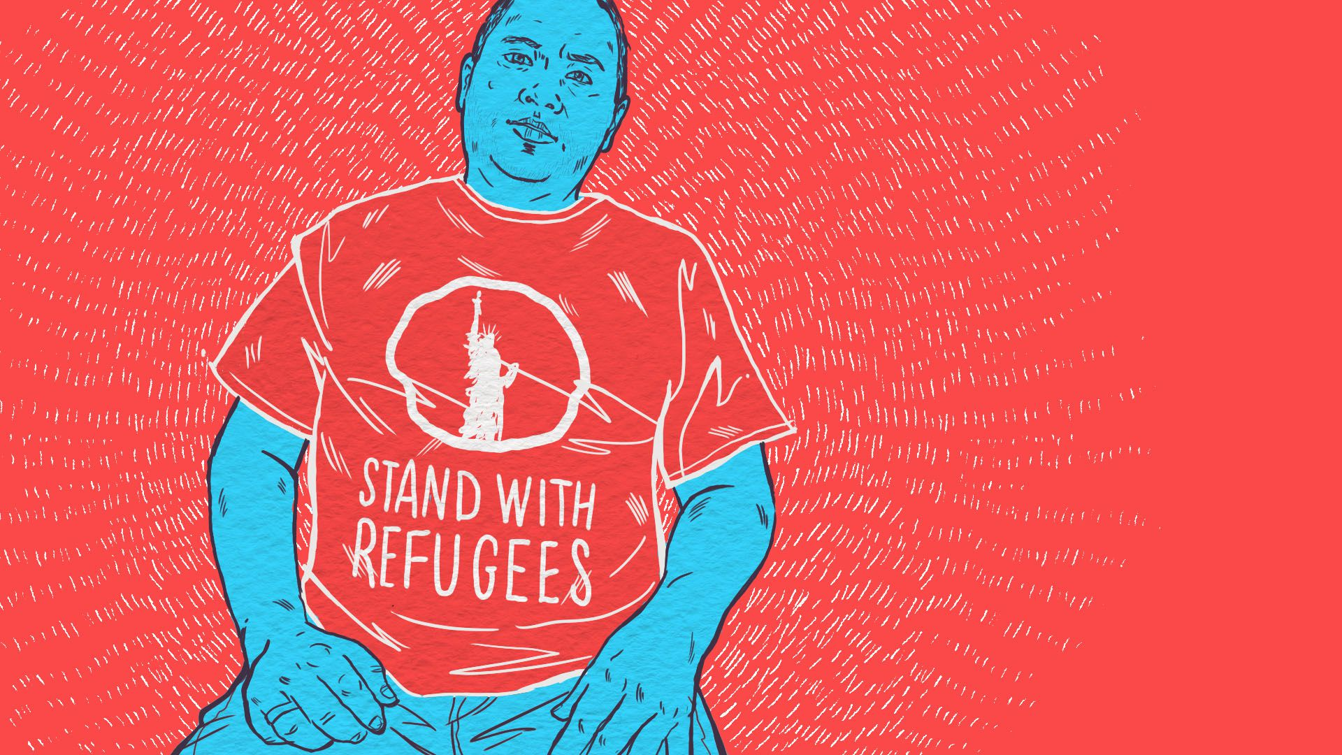 "An illustration of a man wearing a red t-shirt that says ""stand with refugees"""