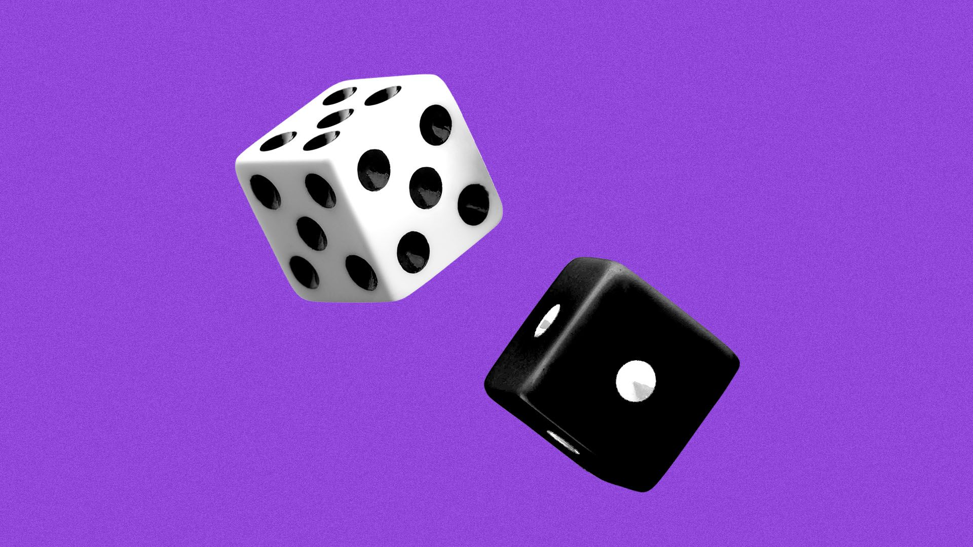 Illustration of a white dice with five black pips on all sides, contrasted with a black dice with a single white pip on all sides