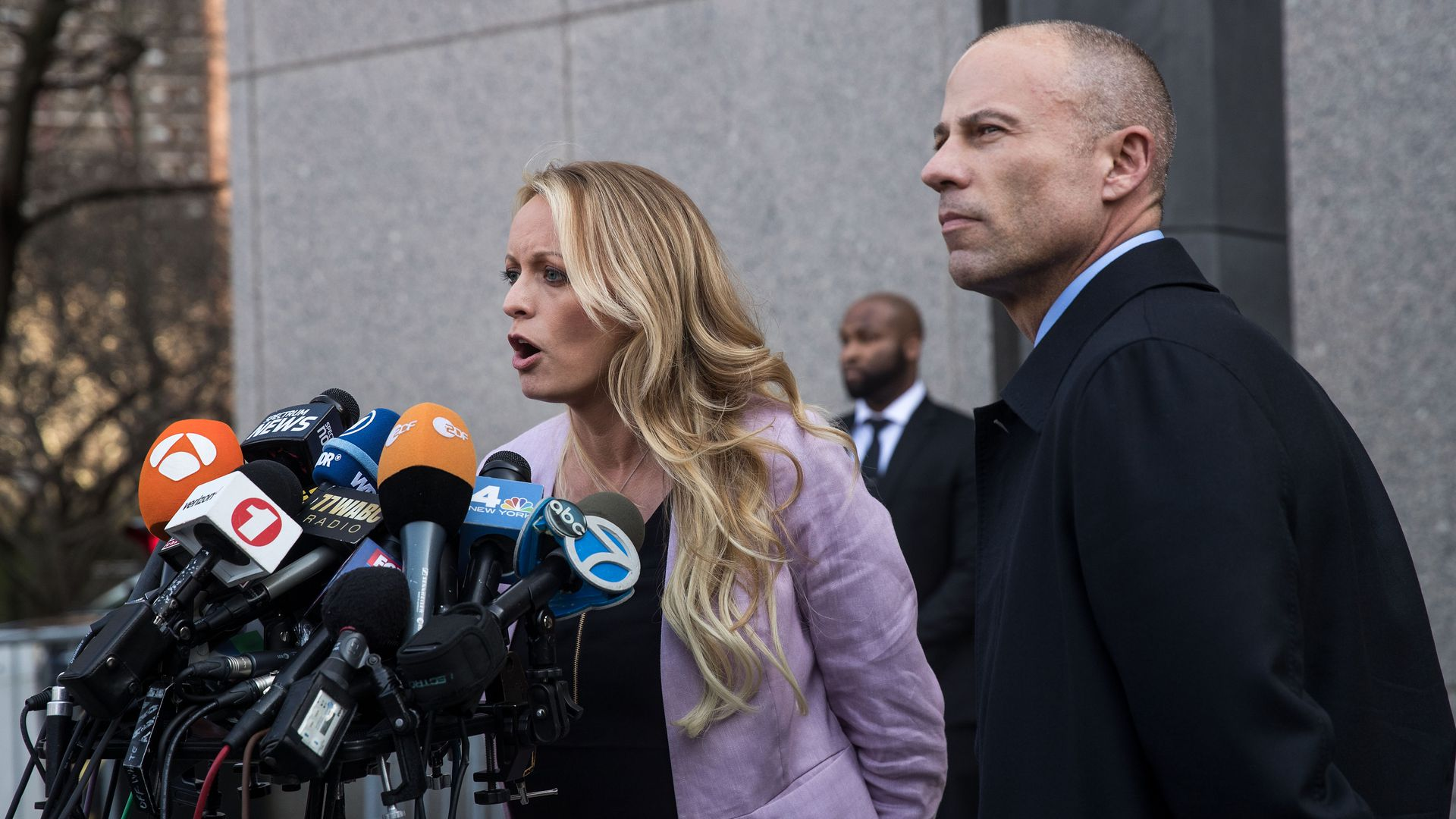 Adult film actress Stormy Daniels (Stephanie Clifford) and attorney Michael Avenatti. Photo: Drew Angerer/Getty Images