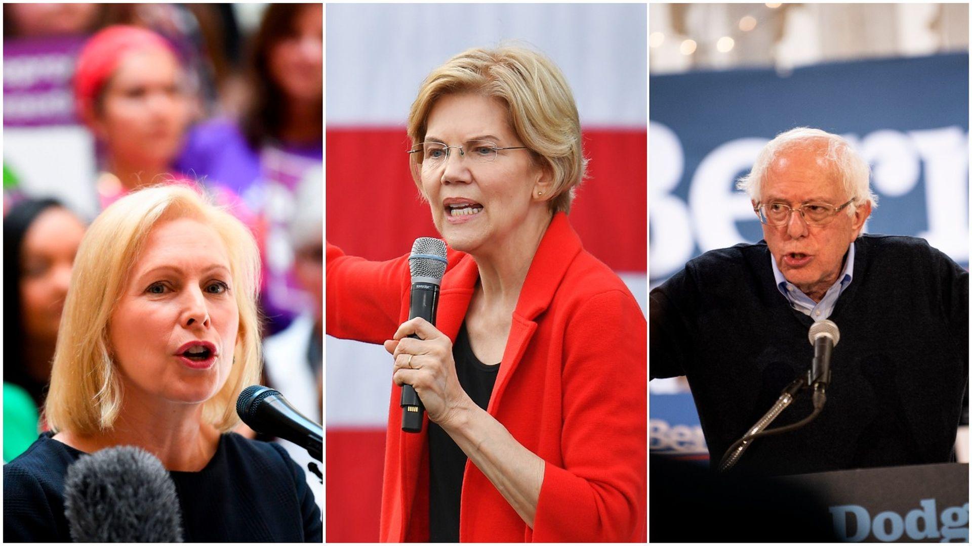 Senators Kirsten Gillibrand, Elizabeth Warren and Bernie Sanders