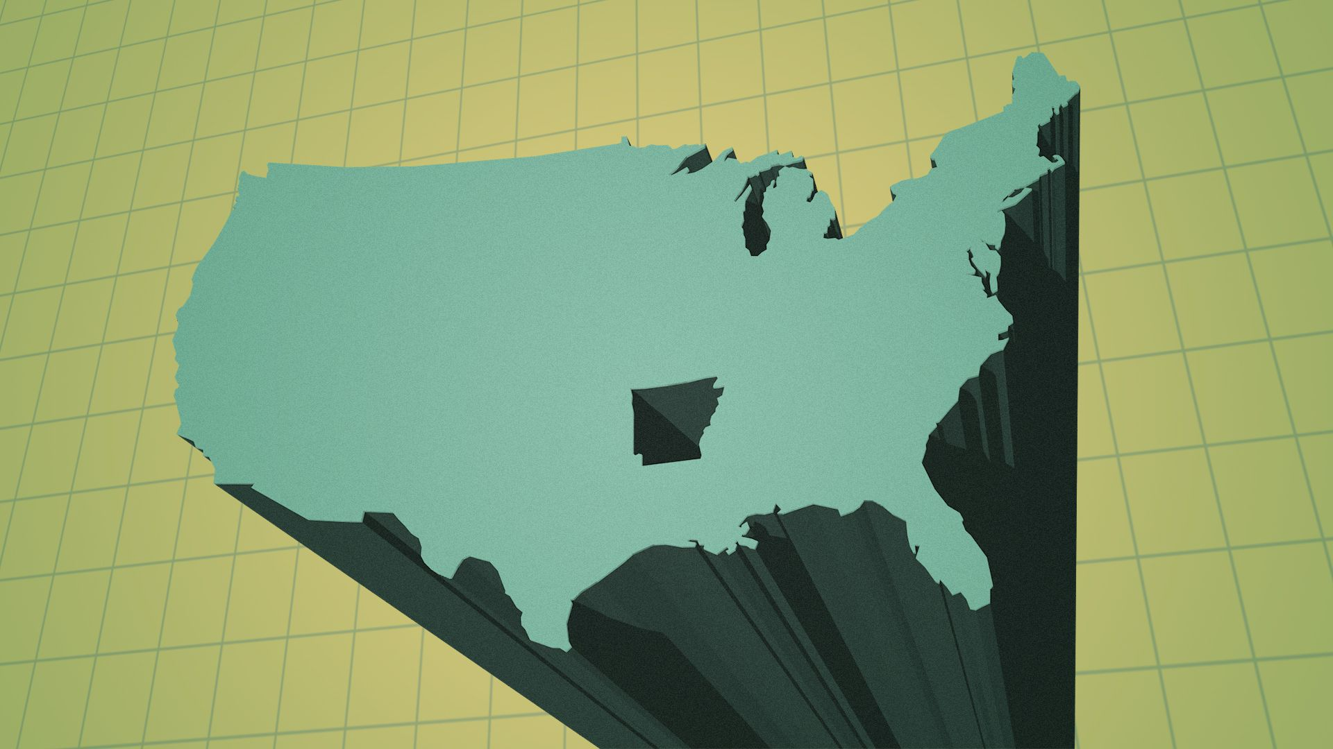 Illustration of the United States as a bar chart element extending into the foreground, leaving Arkansas behind.