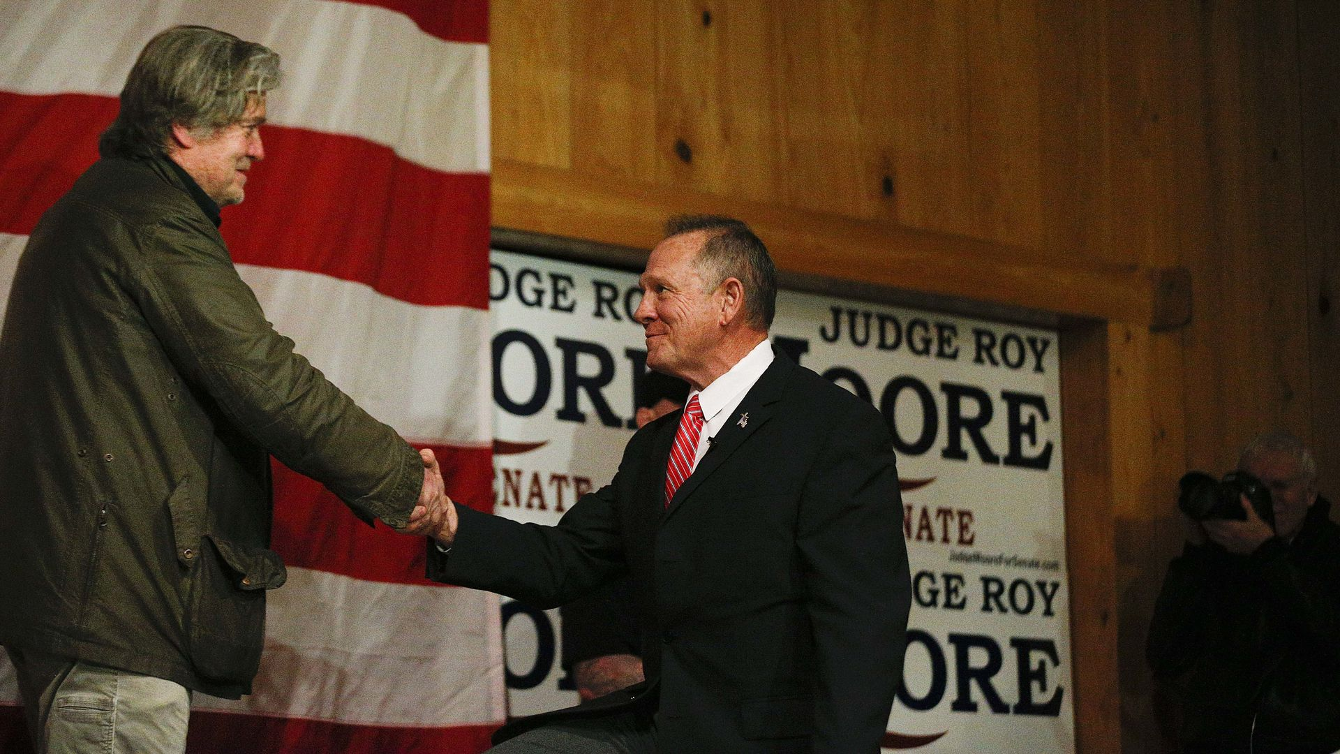 Steve Bannon introduces U.S. Senate candidate Roy Moore at a rally.