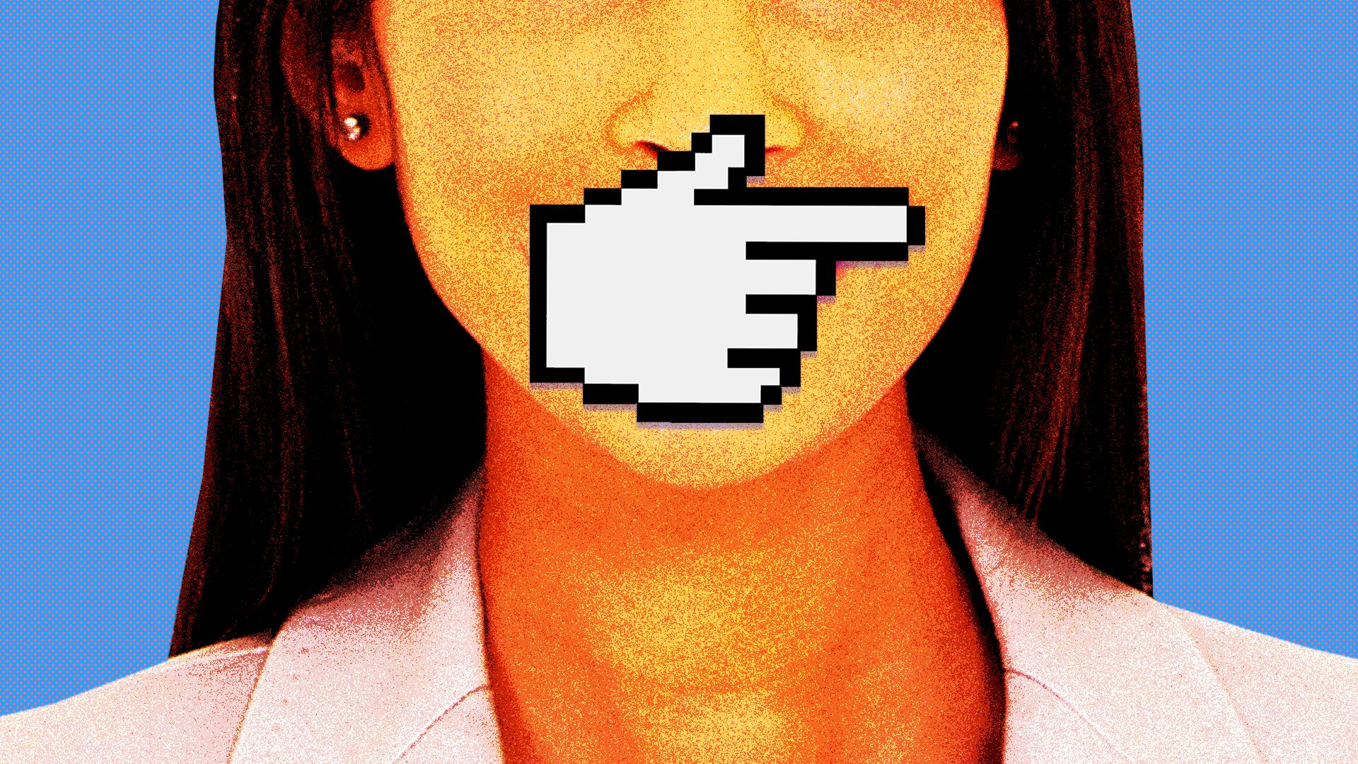 An. illustration of a woman being silenced by a hand cursor