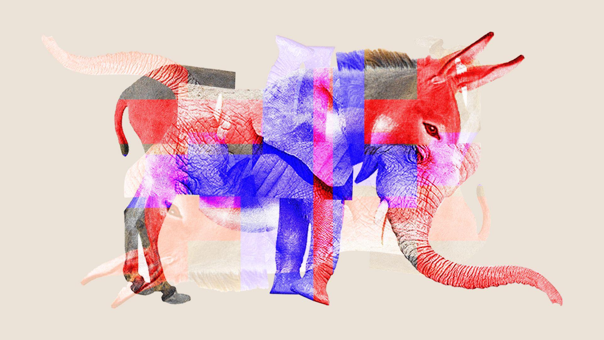 Illustration of a mix of elephant and donkey to show partisanship mix