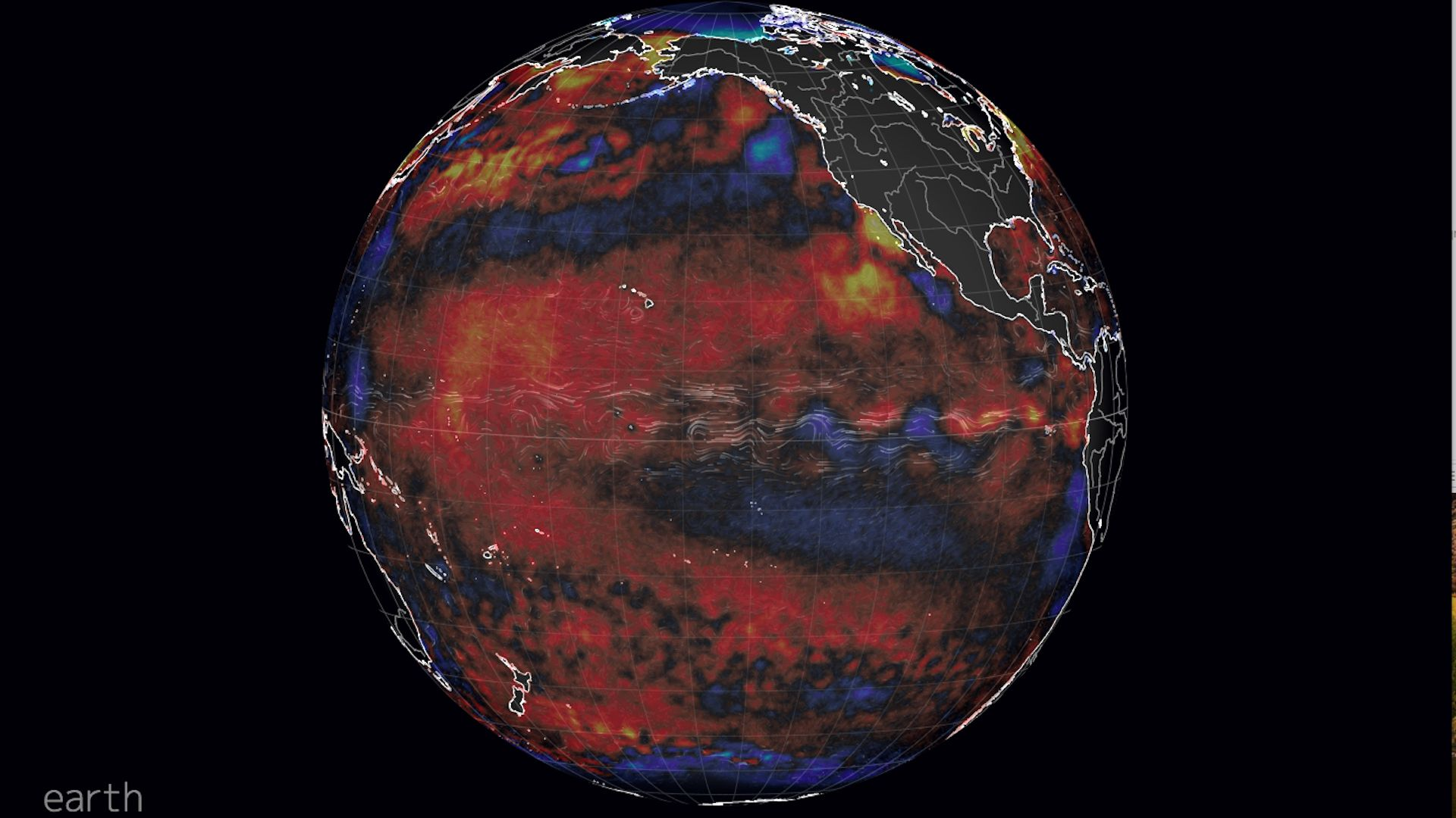 Global sea surface temperature anomalies, showing warming near the equator in the Pacific Ocean.