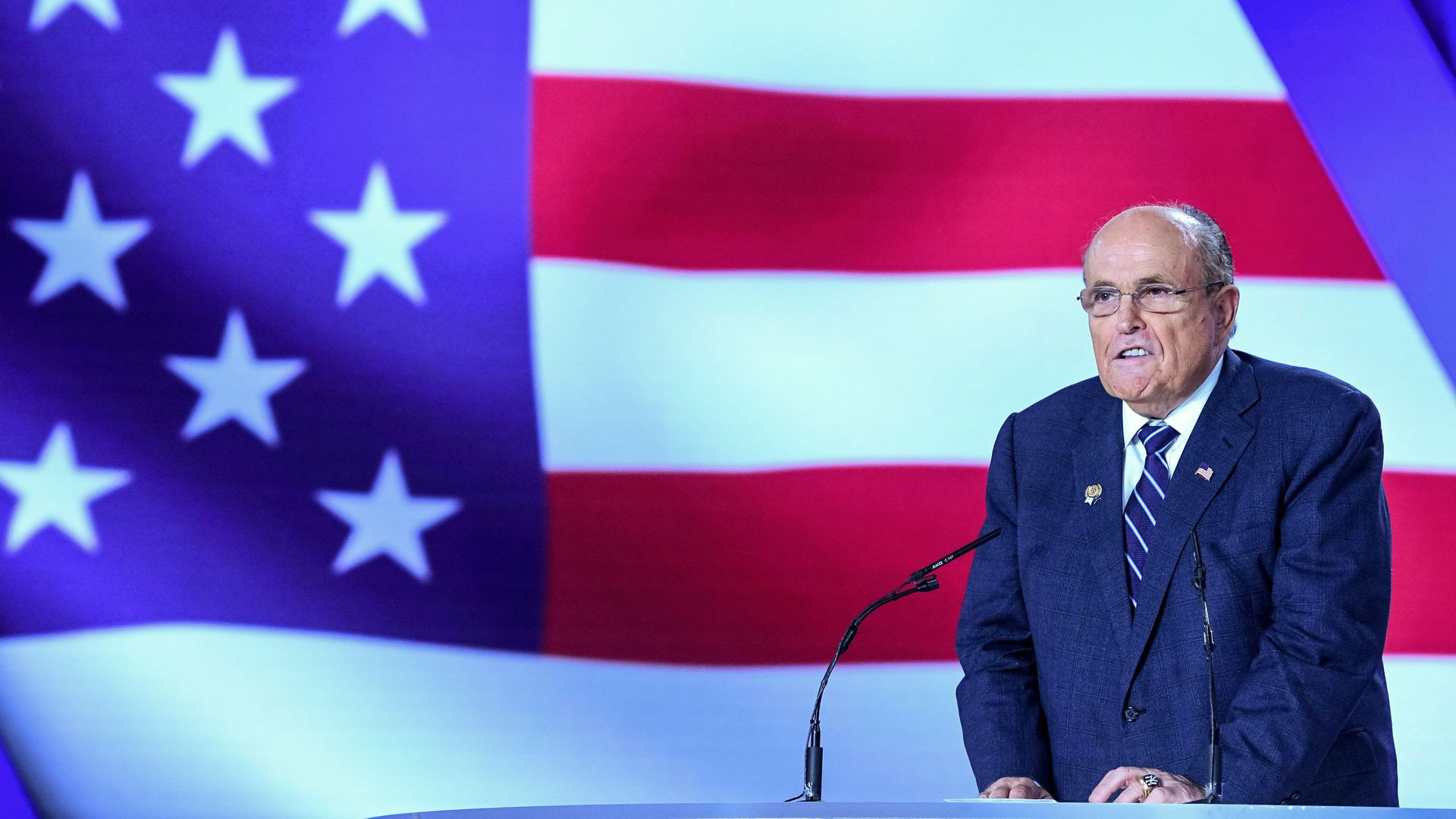 Former Mayor of New York City Rudy Giuliani at a conference at Ashraf-3 camp, which is a base for the People's Mojahedin Organization of Iran (MEK) in Albania on July 13