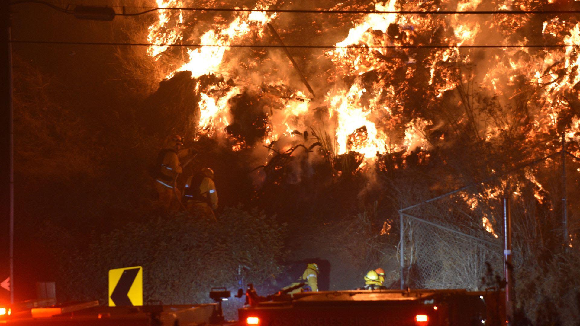 A fire blazing in California