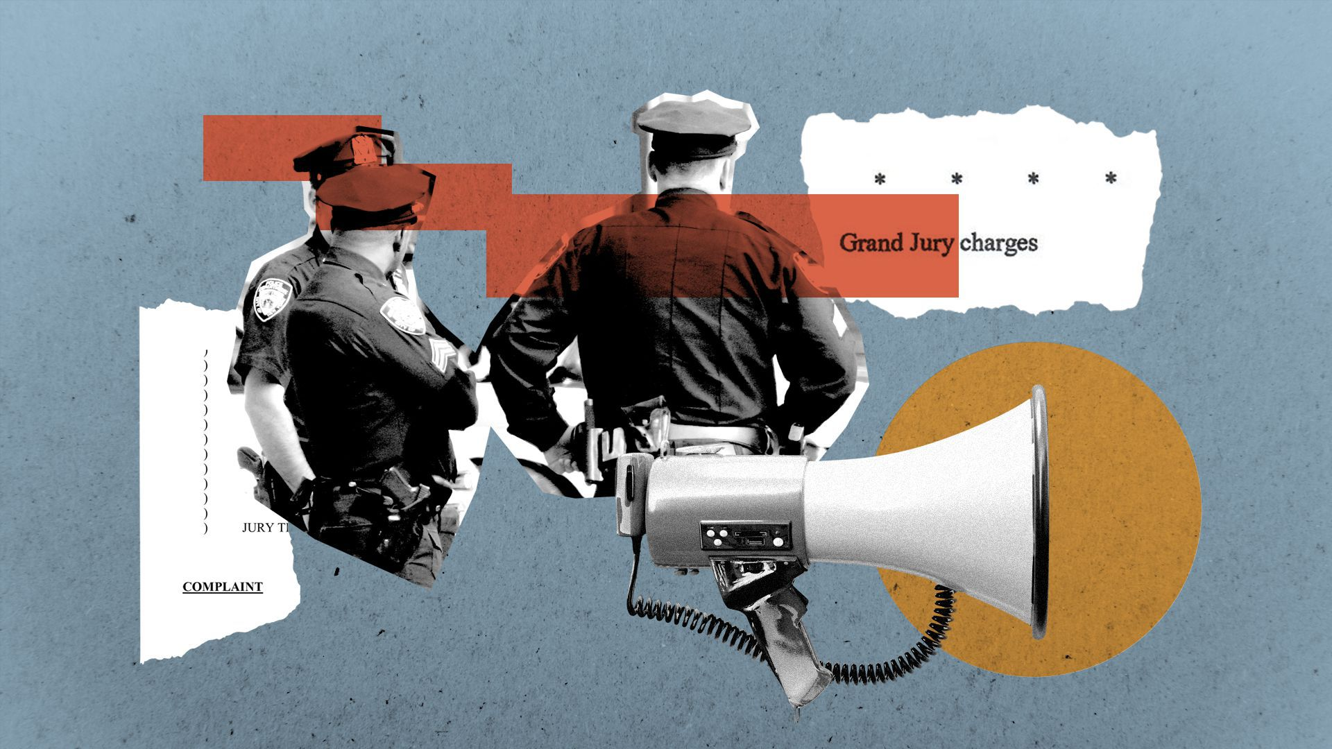 Illustration of a collage featuring police officers, a megaphone, and torn pieces of legal documents.