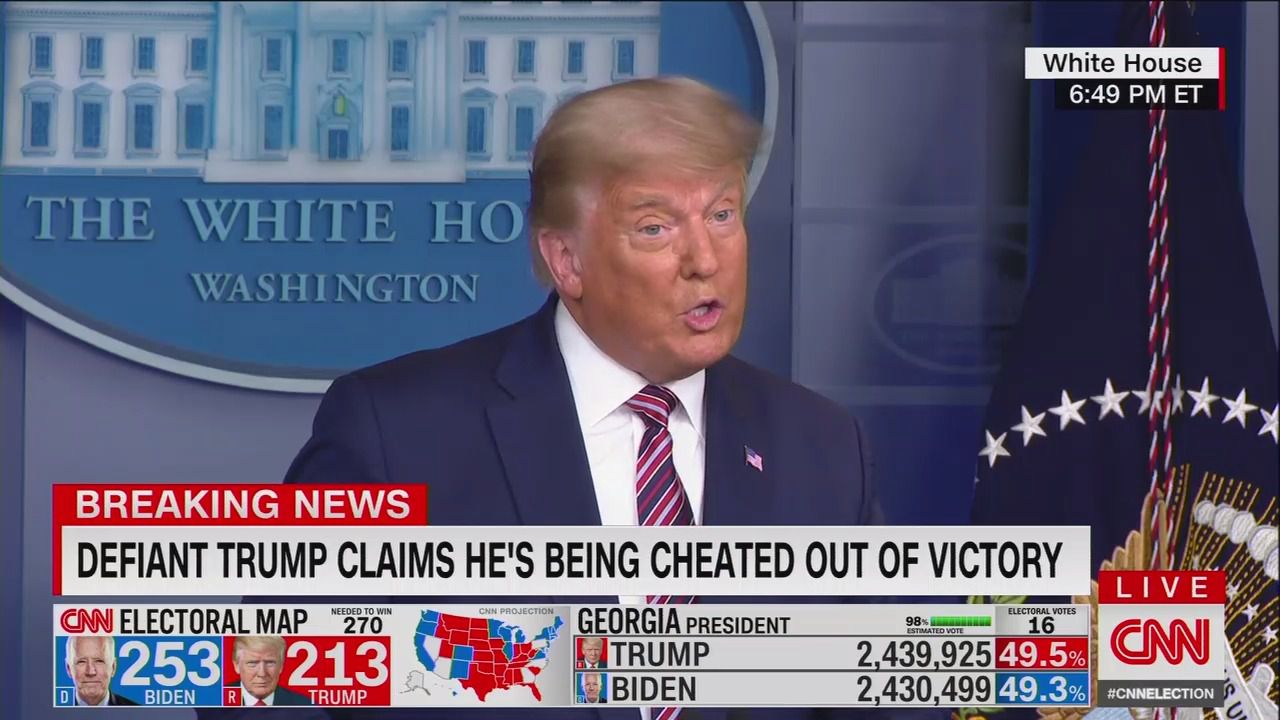 Defiant Trump baselessly claims he was cheated as Biden nears victory thumbnail