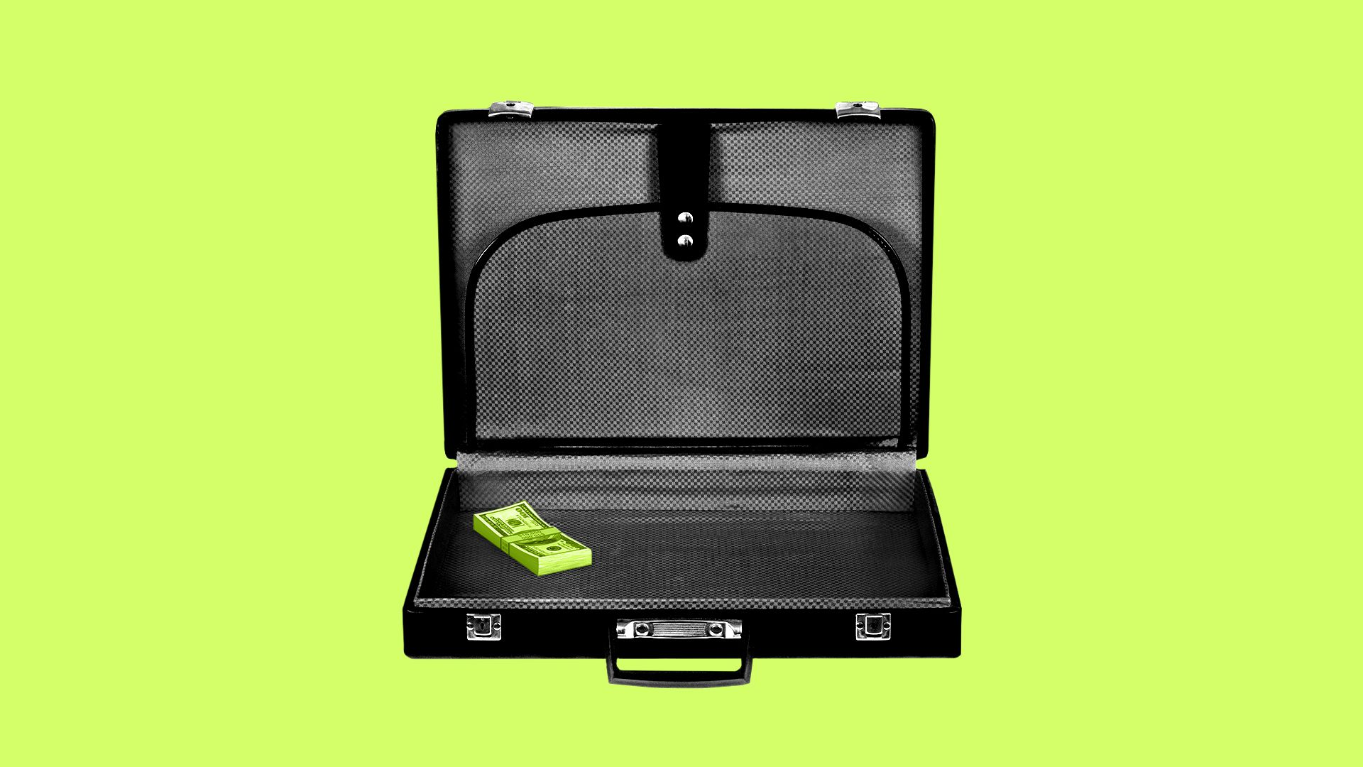 Illustration of a briefcase with a small stack of money
