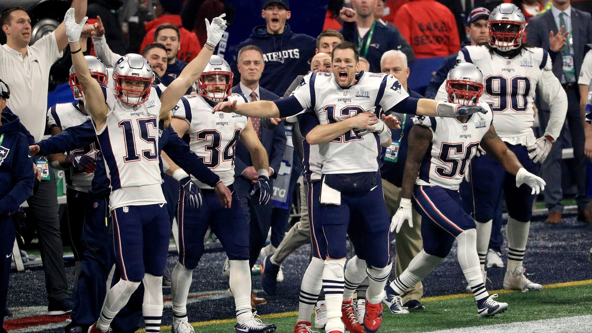 The Patriots celebrate after winning the Super Bowl