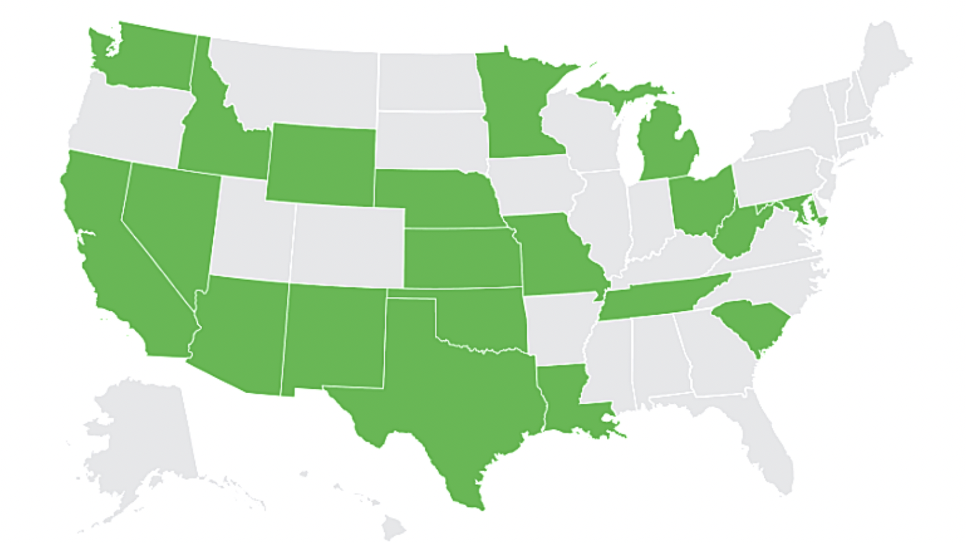 A map showing what states require tow companies to let drivers retrieve personal items.
