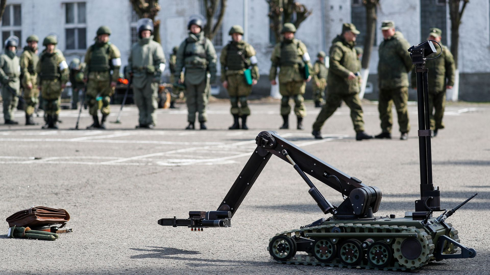 A military robot being tested