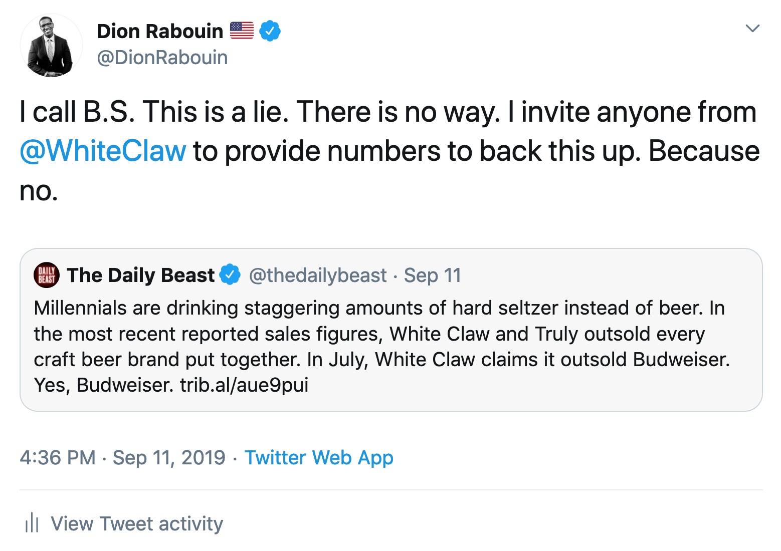 A tweet from Twitter genius Dion Rabouin.