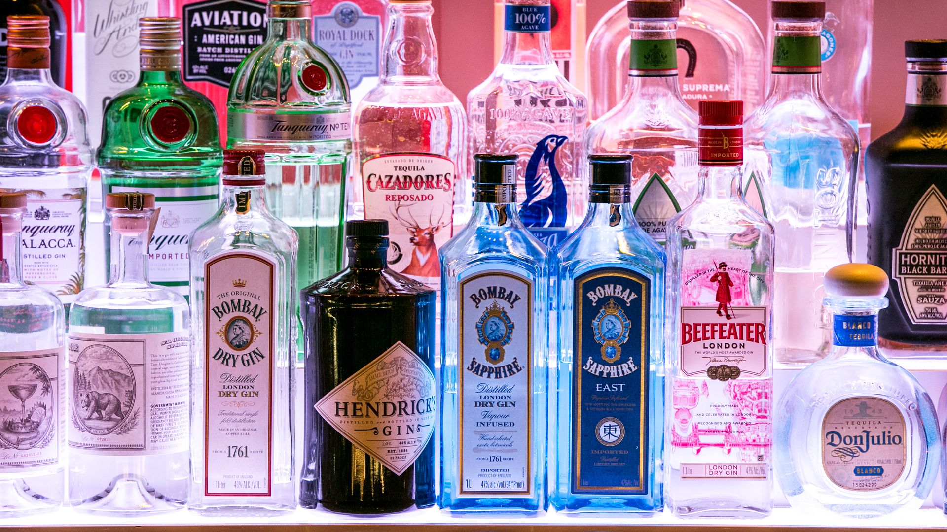 gin and tequila bottles