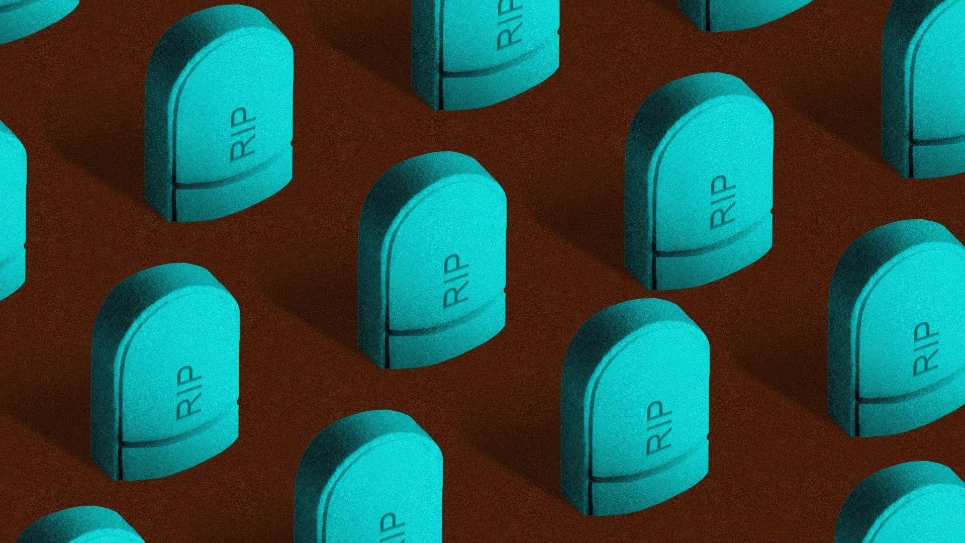 tombstones shaped like half pills