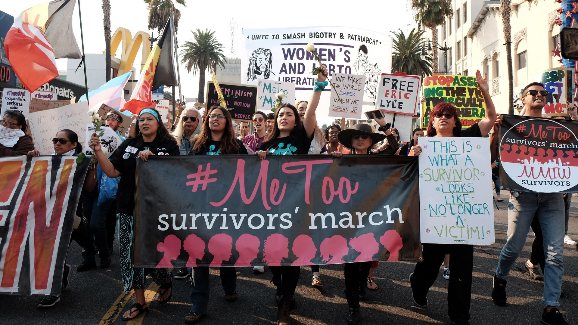 Activists participate in the 2018 #MeToo March on November 10, 2018 in Hollywood, California. (Photo by Sarah Morris/Getty Images)