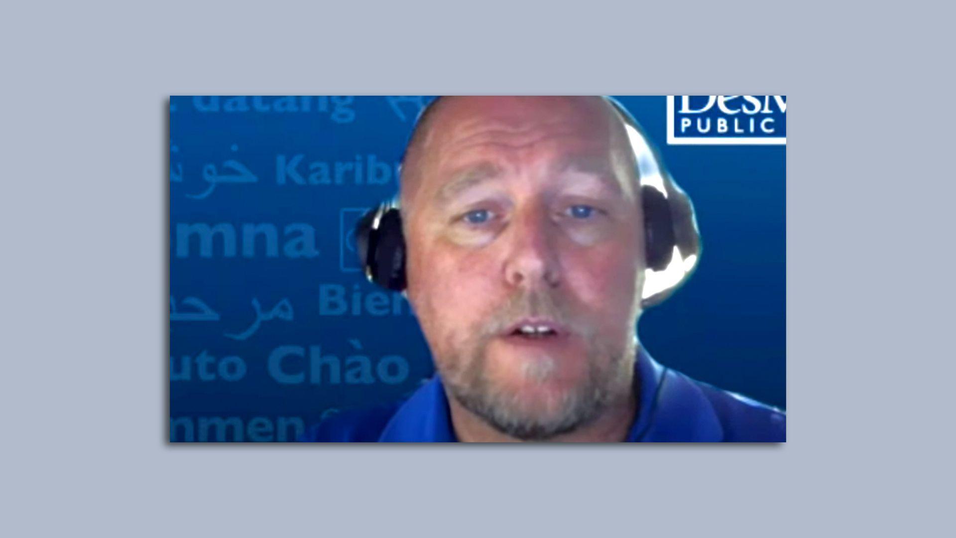 A screenshot of Des Moines Public Schools Superintendent Thomas Ahart leading a virtual town hall meeting.