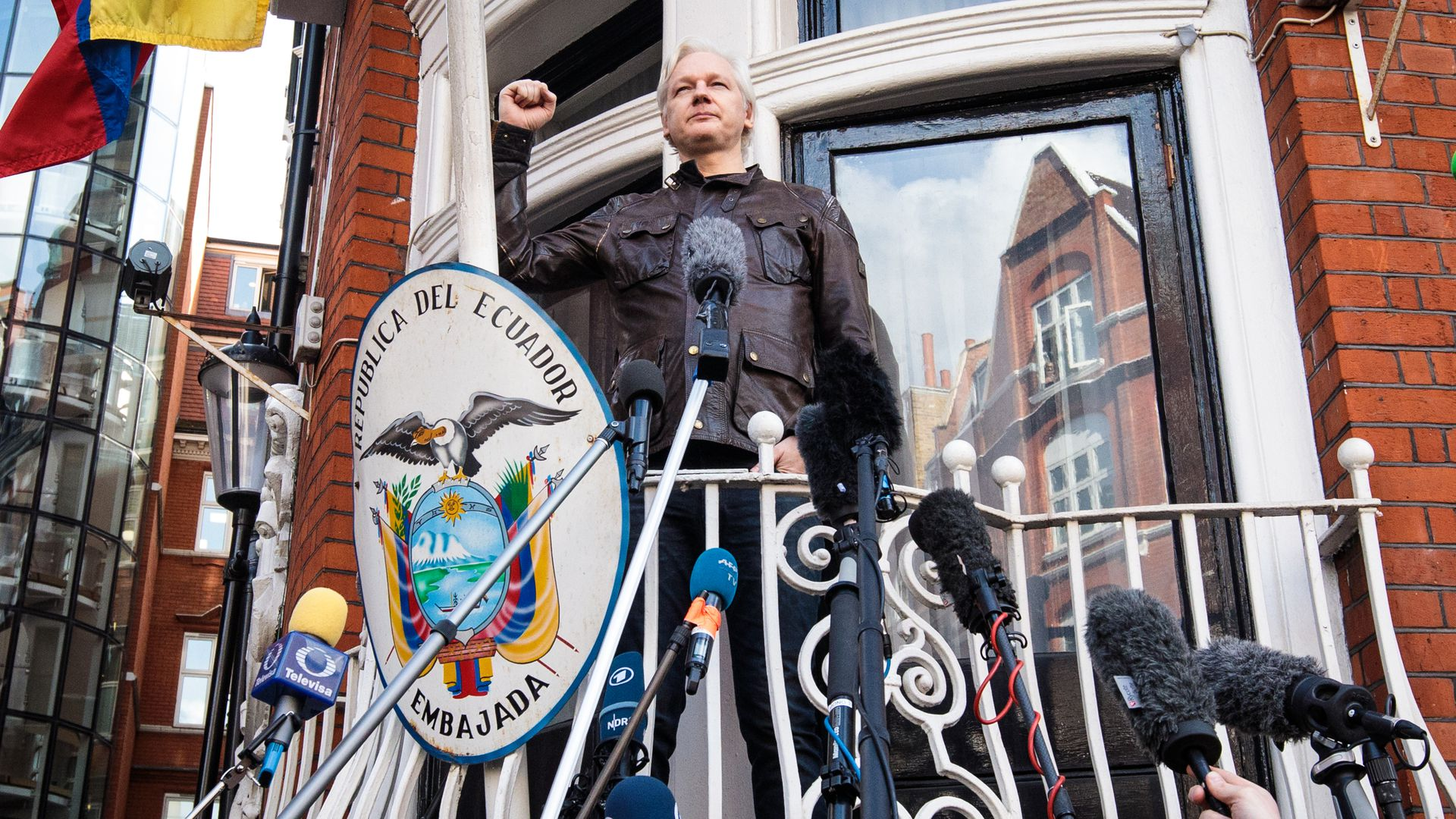 Julian Assange speaking at the balcony of the Ecuadorean Embassy.