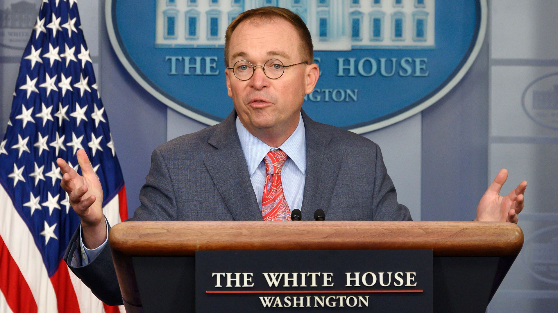 White House Acting Chief of Staff Mick Mulvaney speaks during a press briefing at the White House in Washington, DC, on October 17