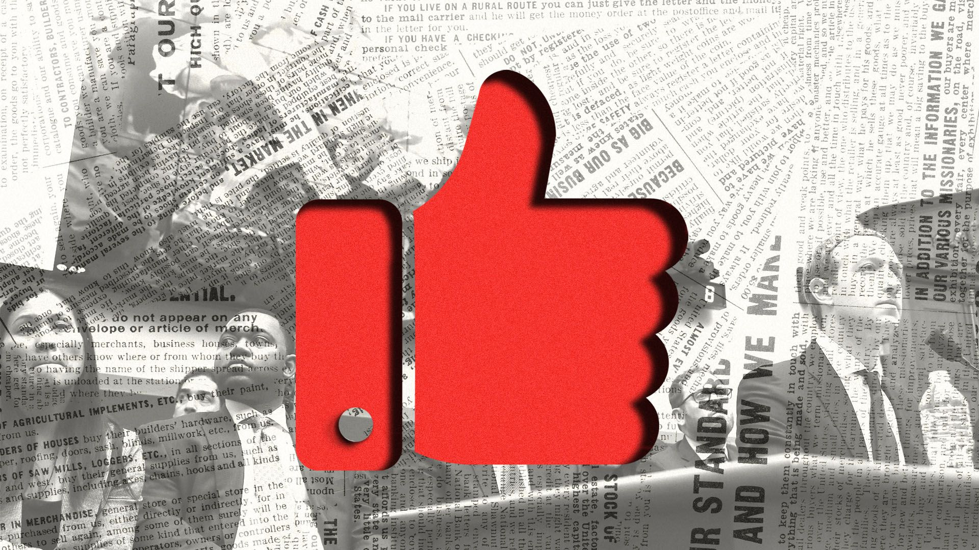 Photo illustration of Mark Zuckerberg testifying before Congress with an overlay of a newspaper and a red Facebook like button