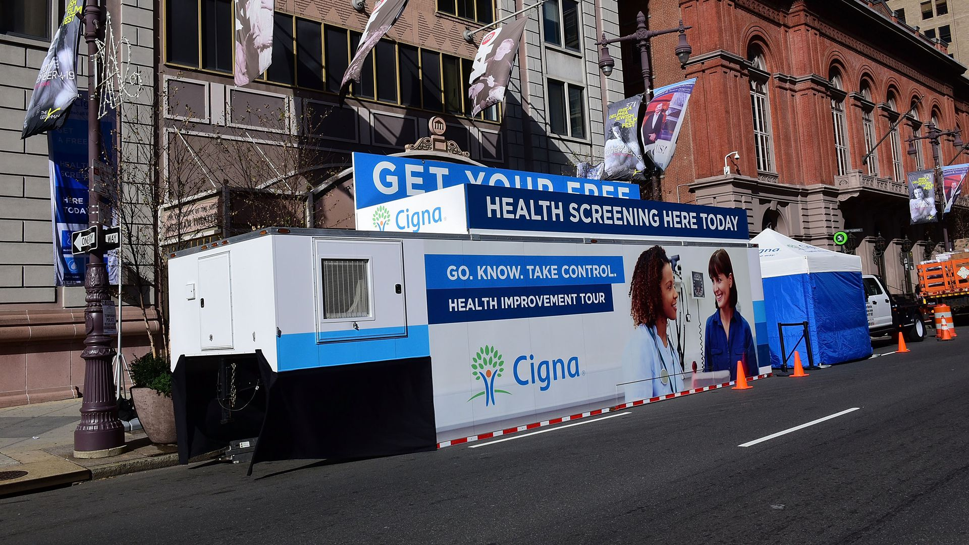 A Cigna mobile unit sets up for health screenings.