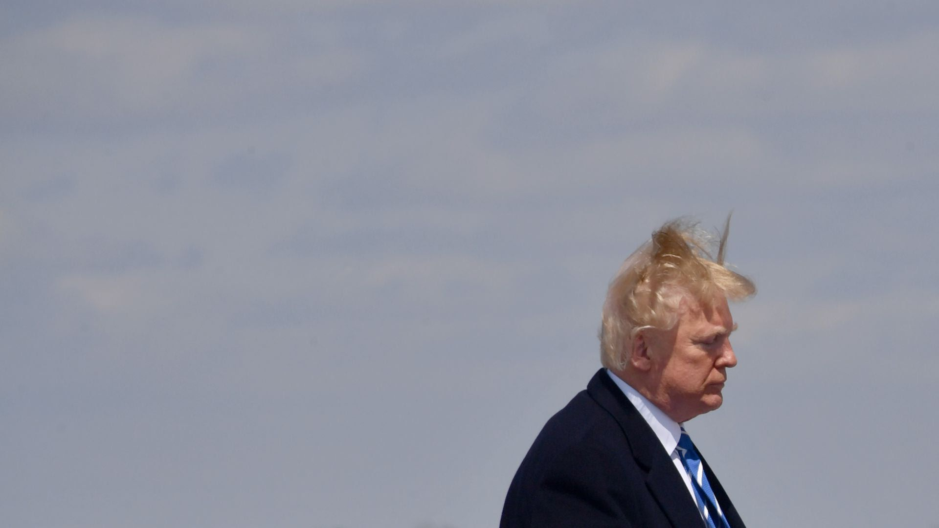 President Trump's hair blows in the wind