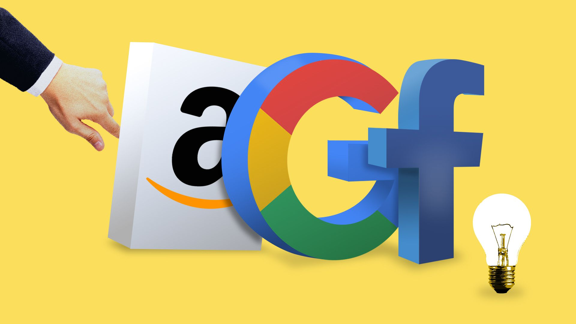 Amazon, Google, Facebook logos with a lawyer's hand behind them