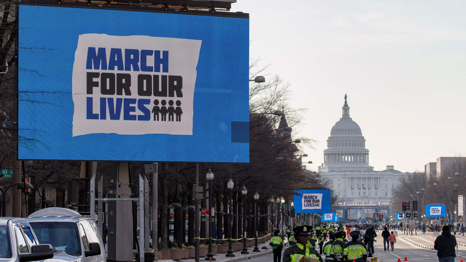 People arrive early for the March For Our Lives rally against gun violence in Washington, DC.