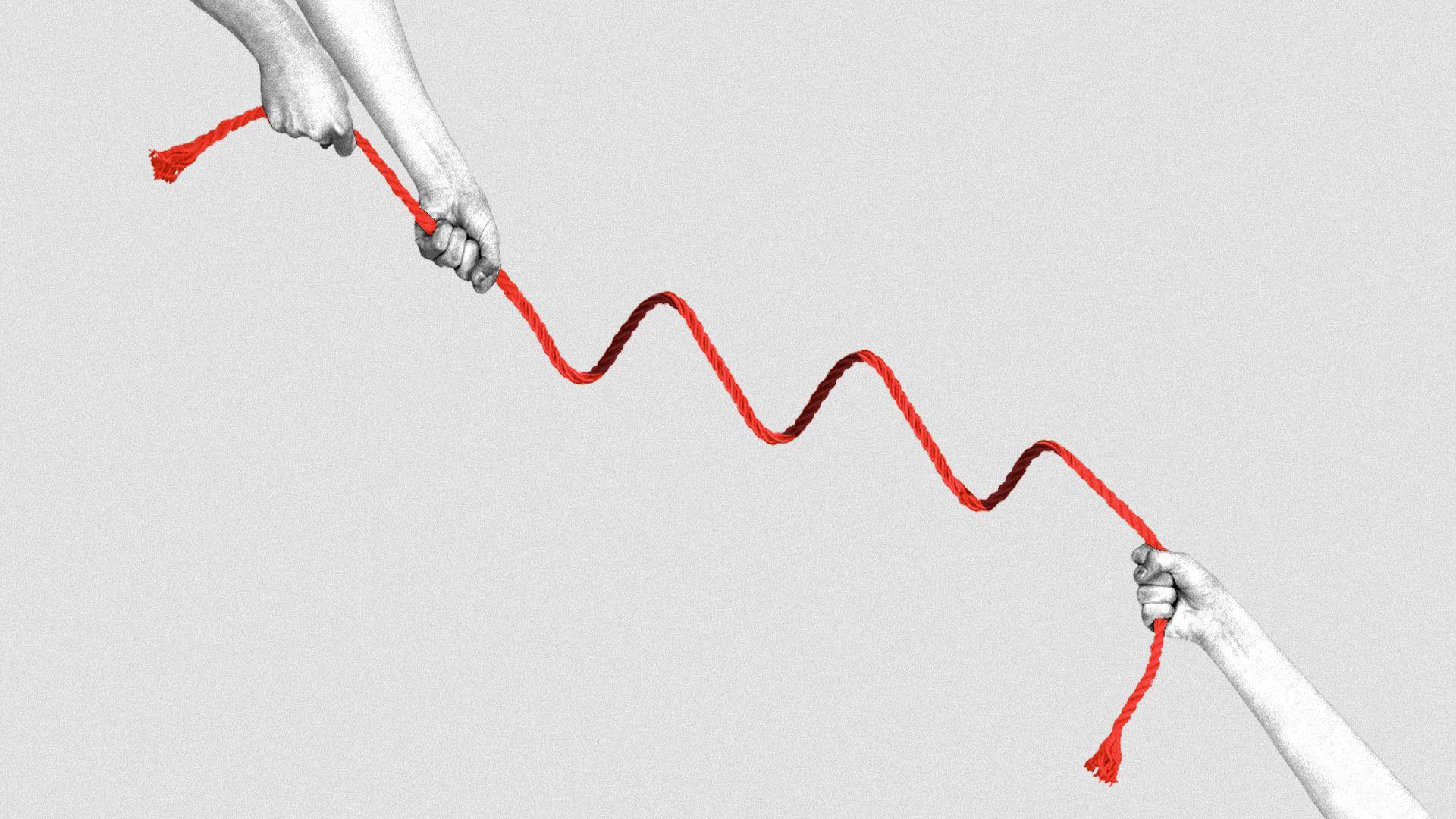 Illustration of a tug-of-war rope in the shape of a downward trending market line.