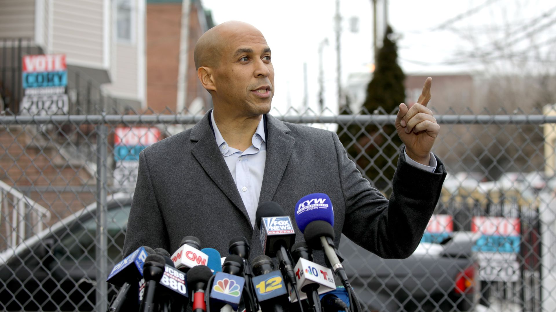 Cory Booker at his 2020 campaign announcement in Newark, N.J.