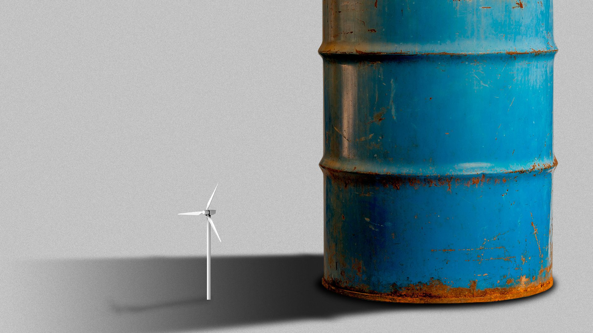 Illustration of a large oil barrel casting a shadow over a tiny wind turbine.