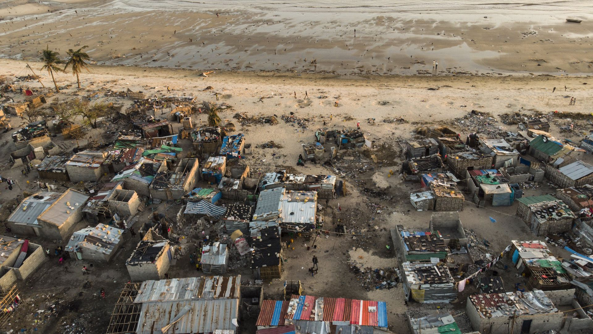 Debris and destroyed buildings which stood in the path of Cyclone Idai can be seen in this aerial photograph over the Praia Nova neighborhood of Beira, Mozambique.