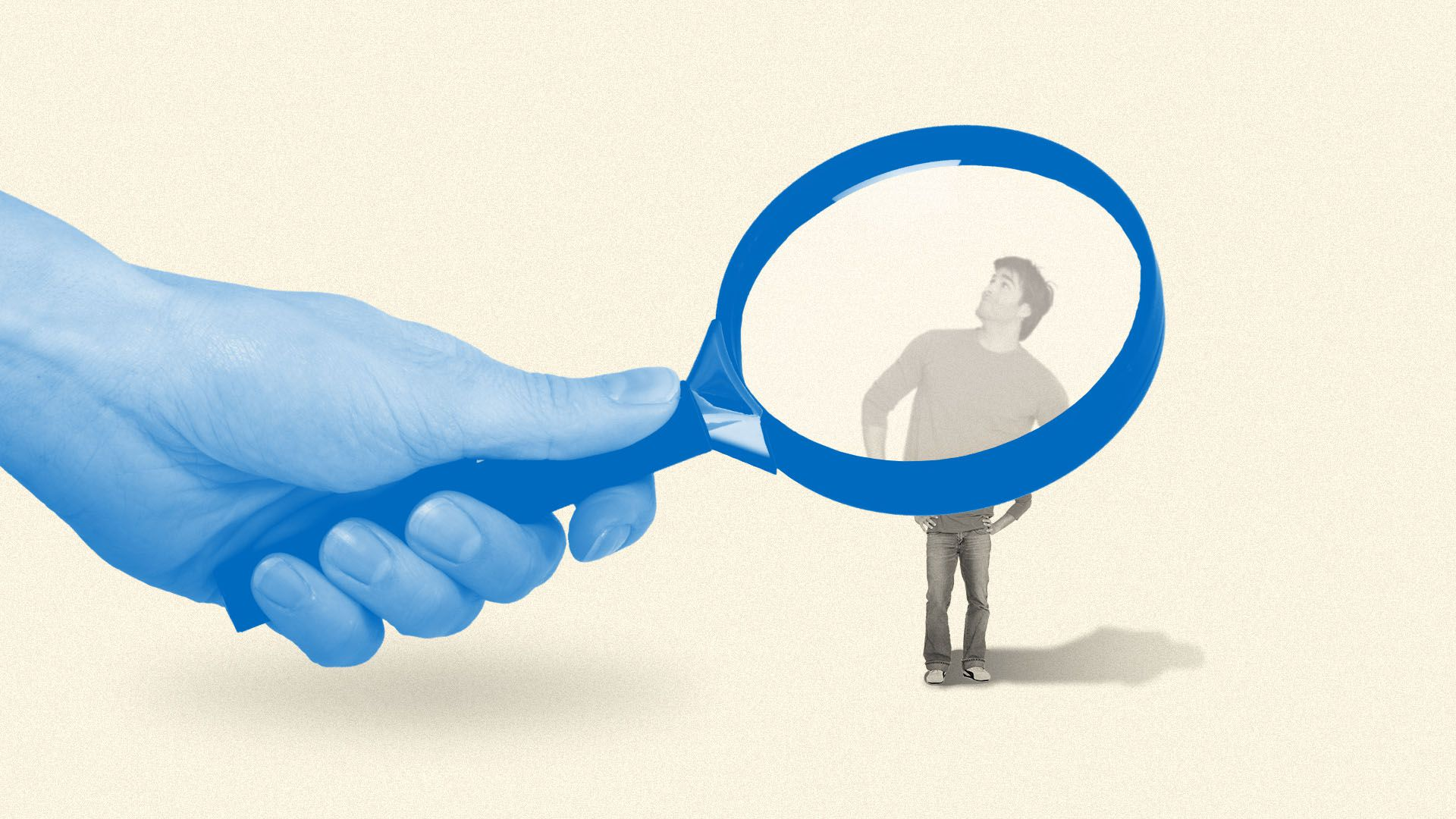 Illustration of a giant magnifying glass with a tiny man magnified under it