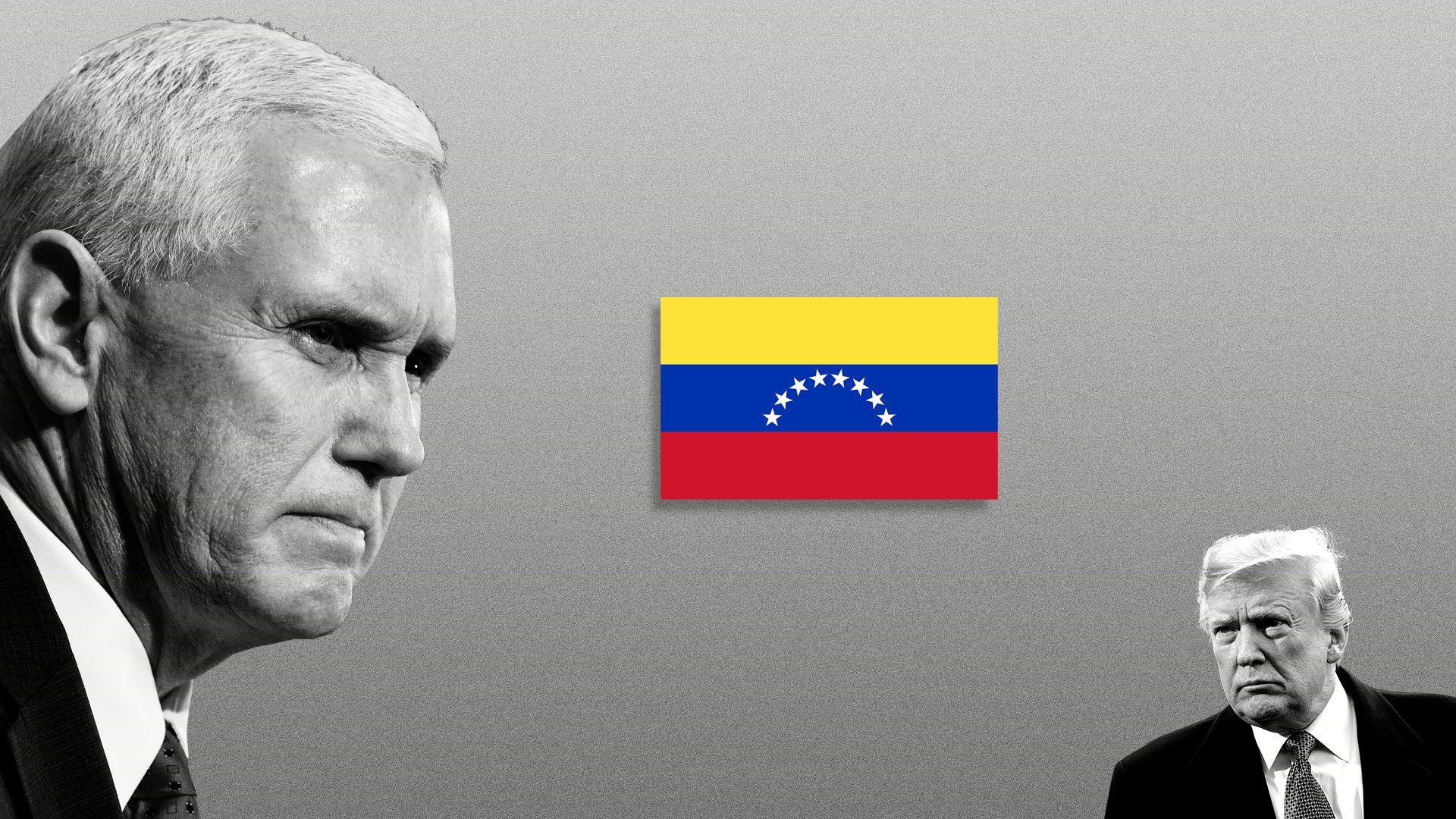 Illustration of Vice President Pence staring at Venezuelan flag