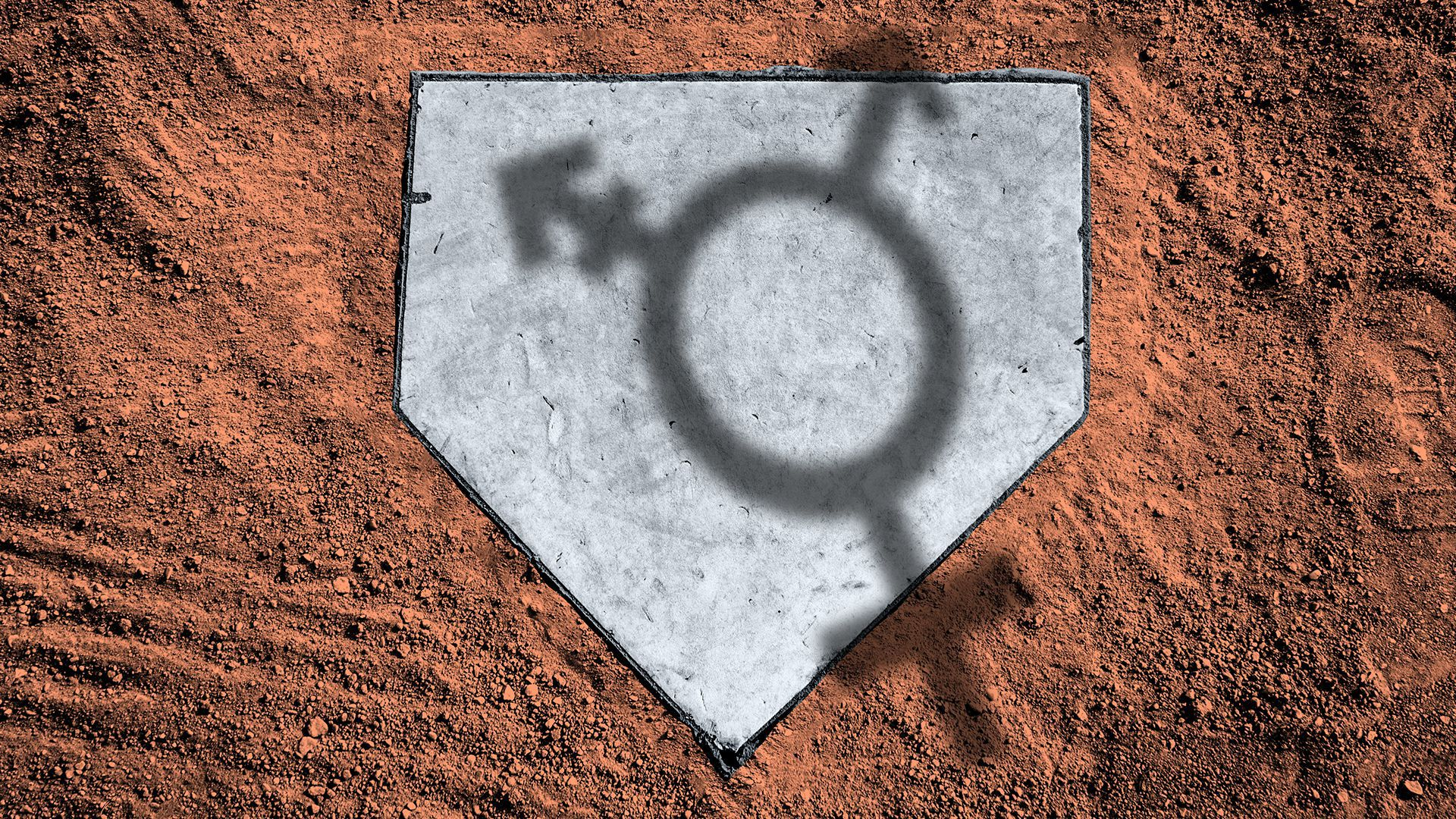 Illustration of a baseball home plate with the shadow of a transgender symbol cast over it.