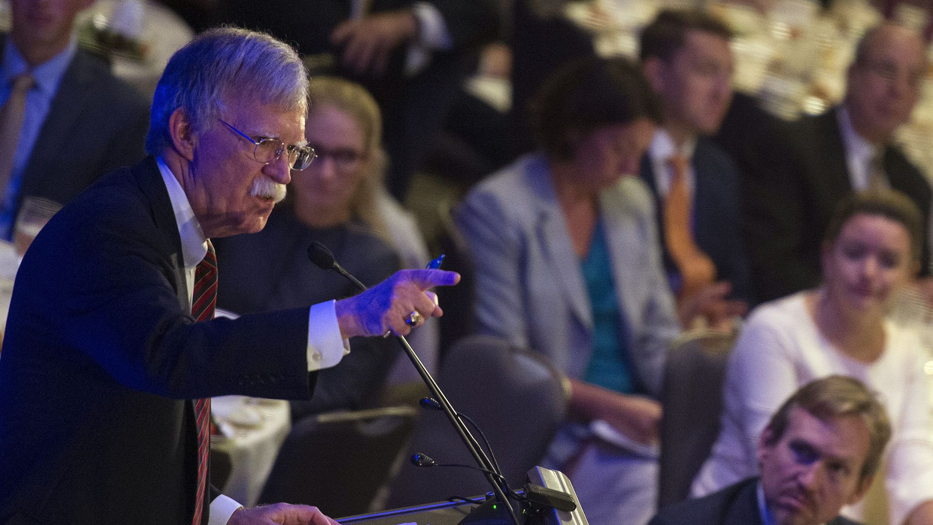 US National Security Advisor, John Bolton, speaks to the Federalist Society in Washington DC