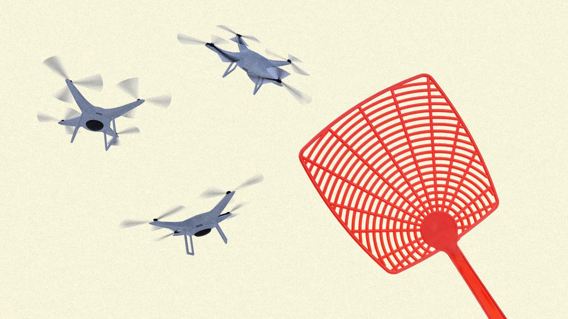 Illustration of drone buzzing near a giant flyswatter