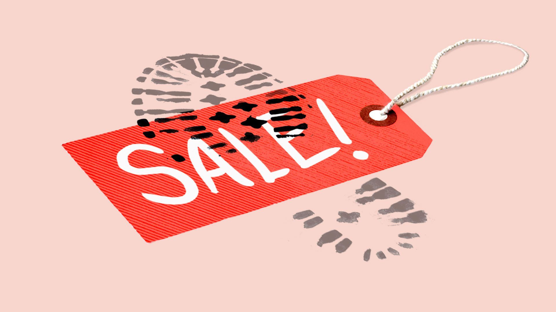 Axios illustration of footprint over 'Sale' tag