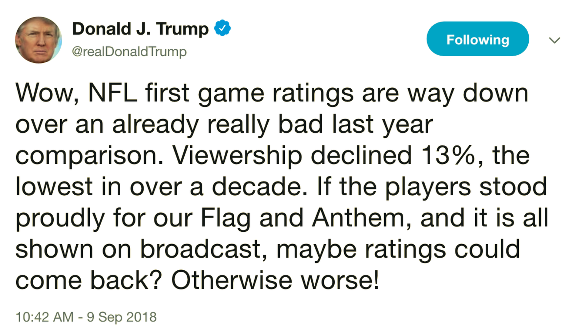 Trump blames lower ratings for Eagles-Falcons NFL opener on protests