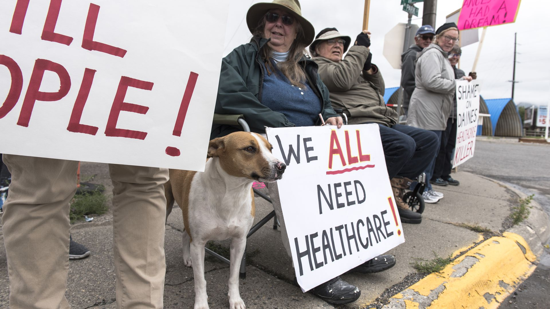 Protesters hold a small peaceful demonstration in support of health care