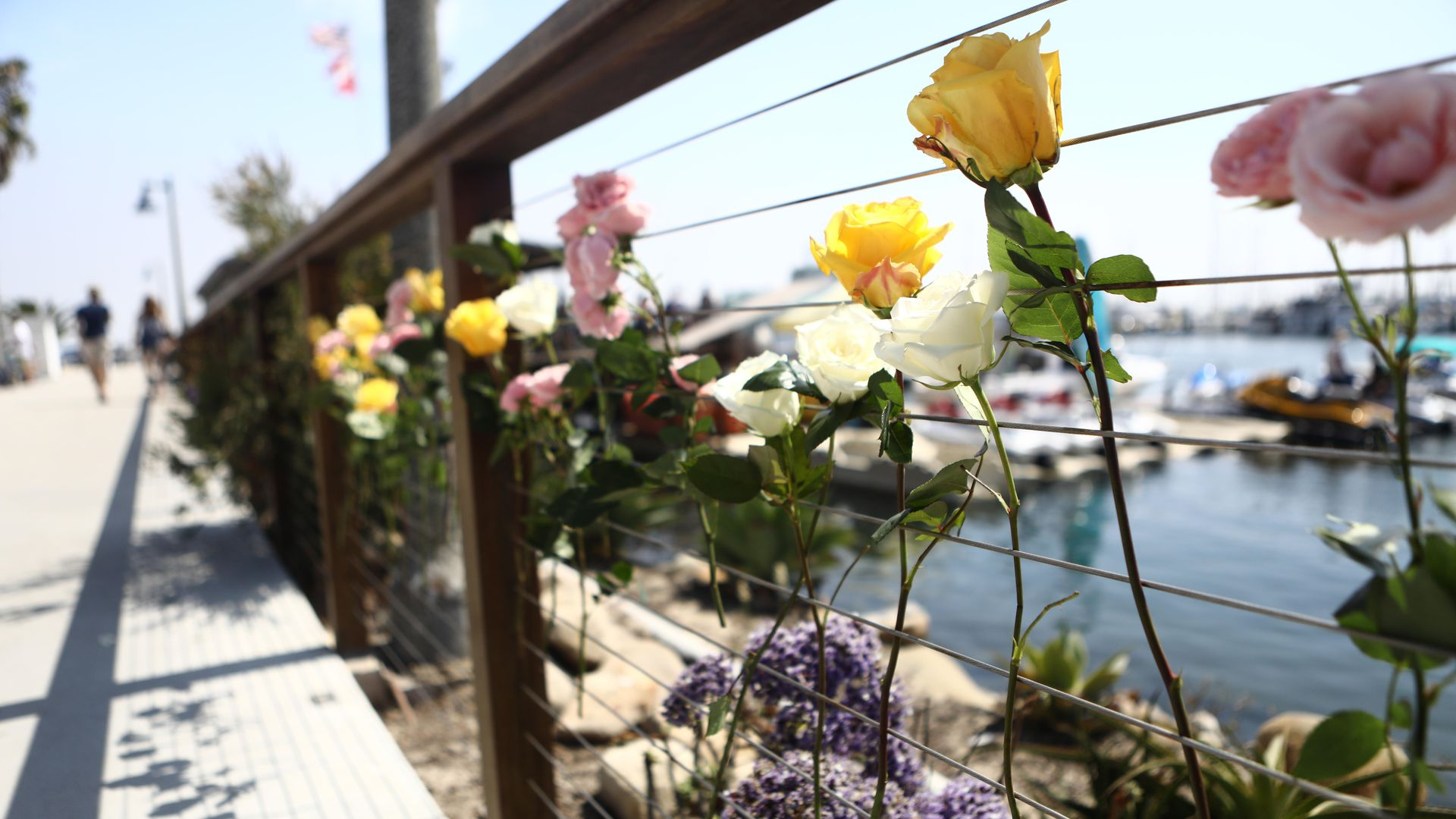 Flowers are left on a railway outside of Sea Landing, where a commercial scuba boat departed before catching fire, on September 2