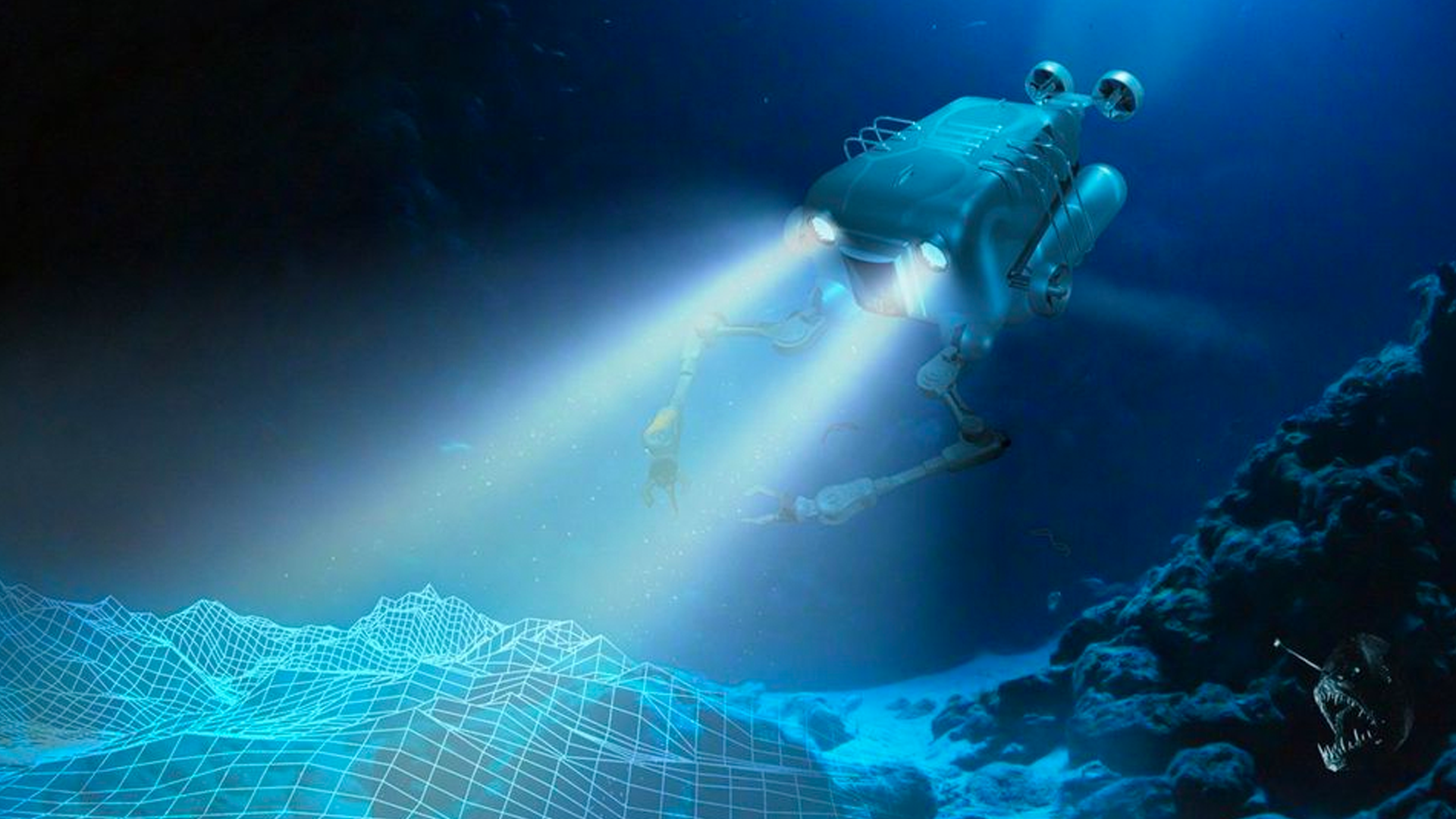 Artist rendering of an underwater AV with robotic arms, courtesy DARPA