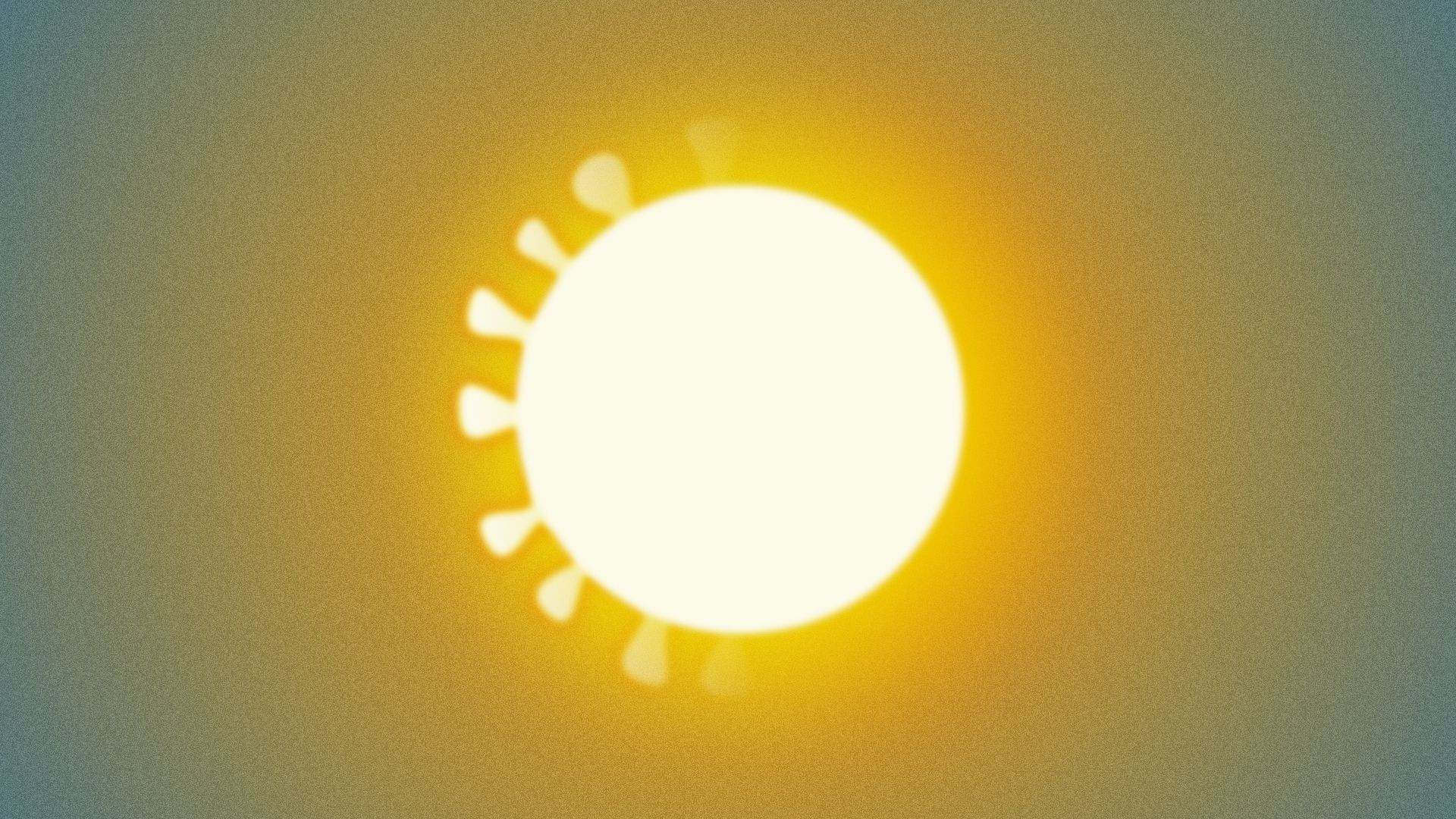 Illustration of the sun, encircled with coronavirus protrusions that are fading from left to right.