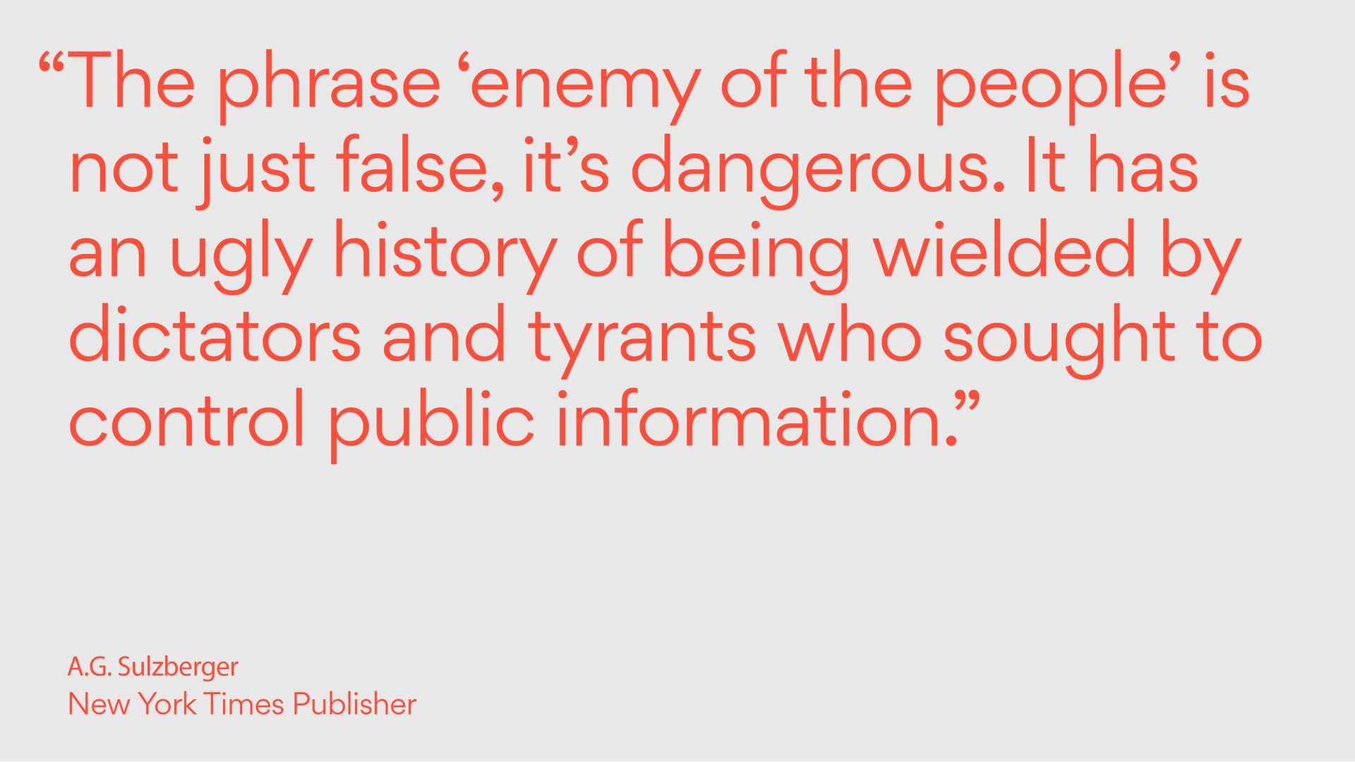 Quote from A.G. Sulzberger on freedom of the press