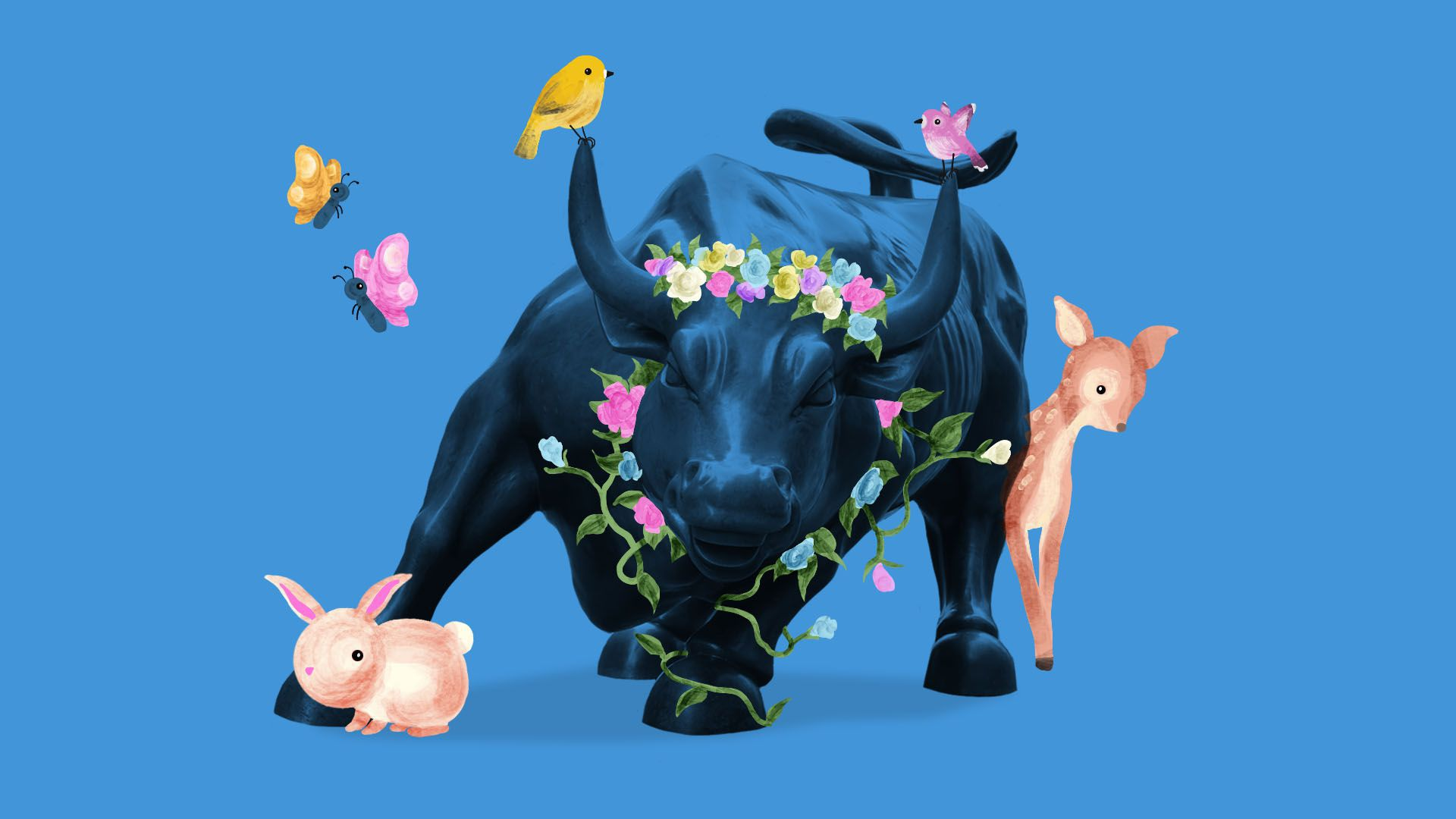 The New York Stock exchange bull with flowers and bunnies and deer around it